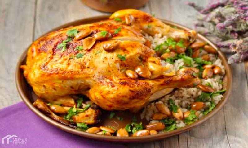 Turkish Stuffed Chicken with rice