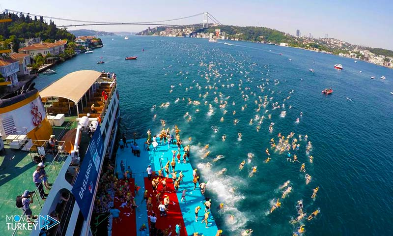 About 2000 swimmers participate in the swimming marathon in Istanbul, between Asia and Europe